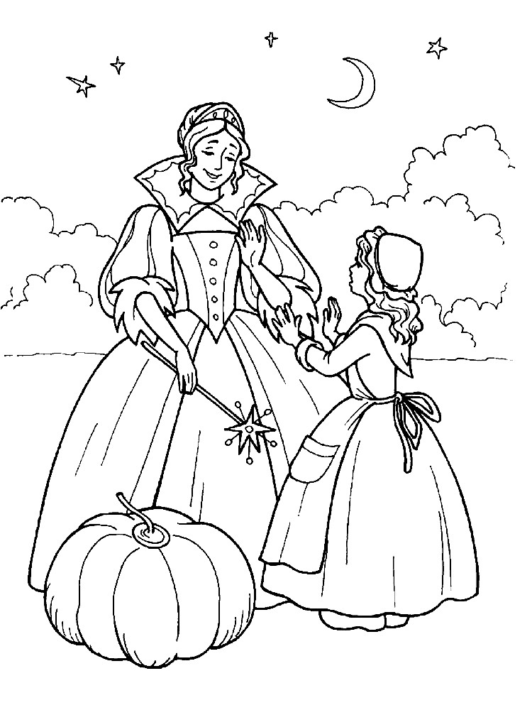 Раскраска Золушка и фея крестная | Раскраски для детей ...