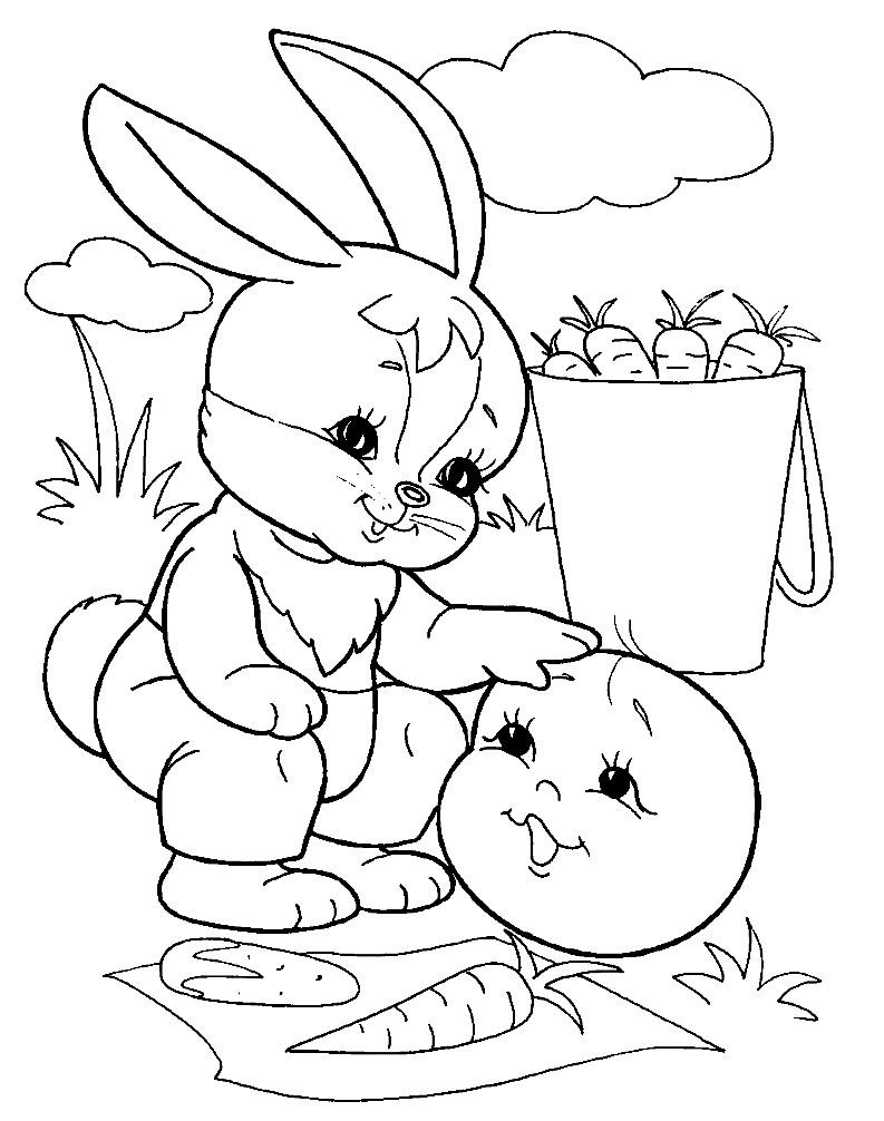 Раскраска Колобок и зайчик