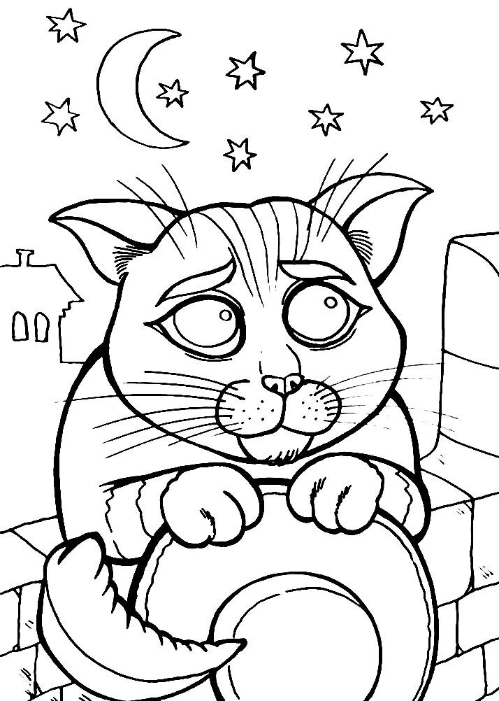 Раскраска милый Кот в сапогах