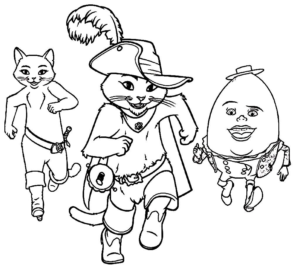 Раскраска Кот в сапогах с друзьями
