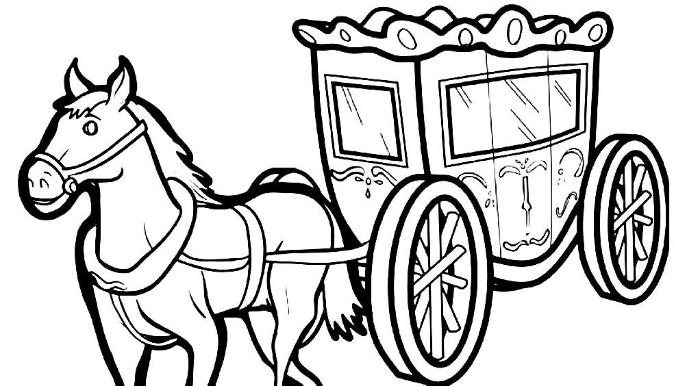 Раскраска лошадь с каретой