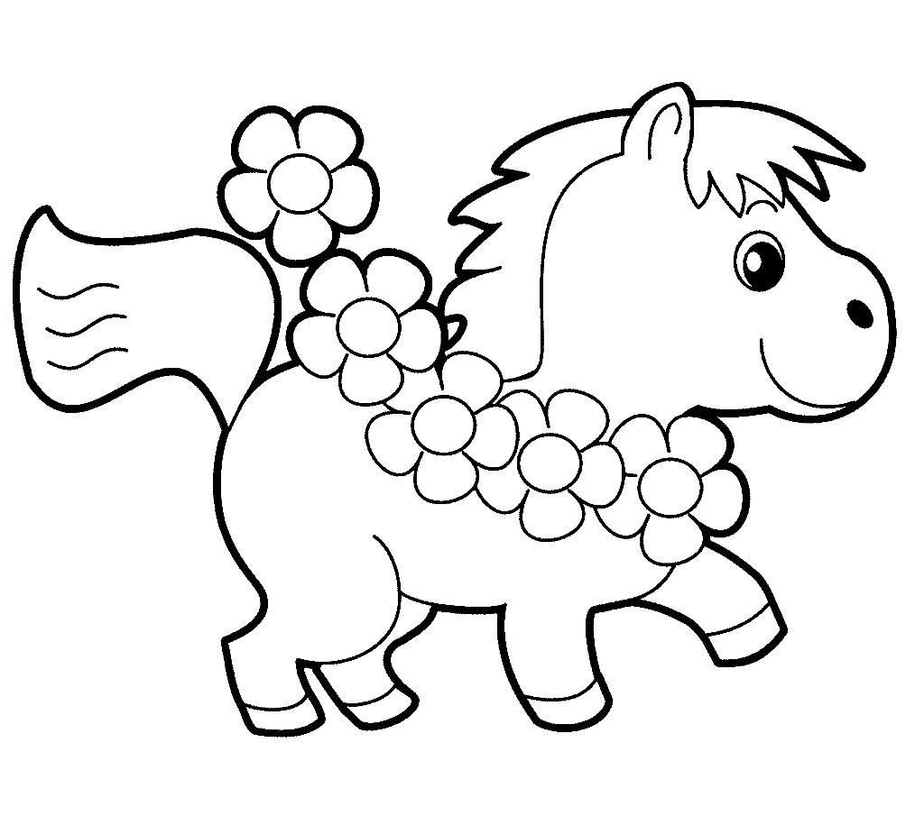 Раскраска жеребенок для малышей
