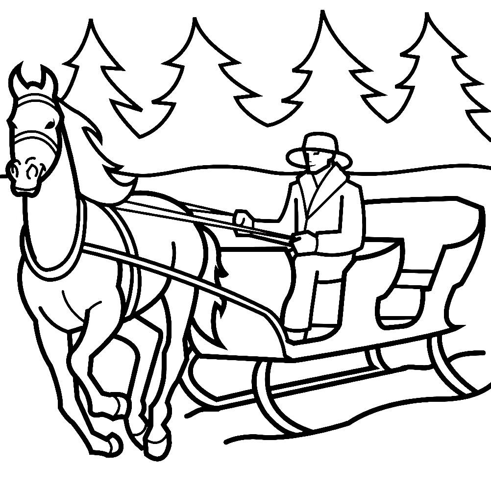 Раскраска лошадь с санями