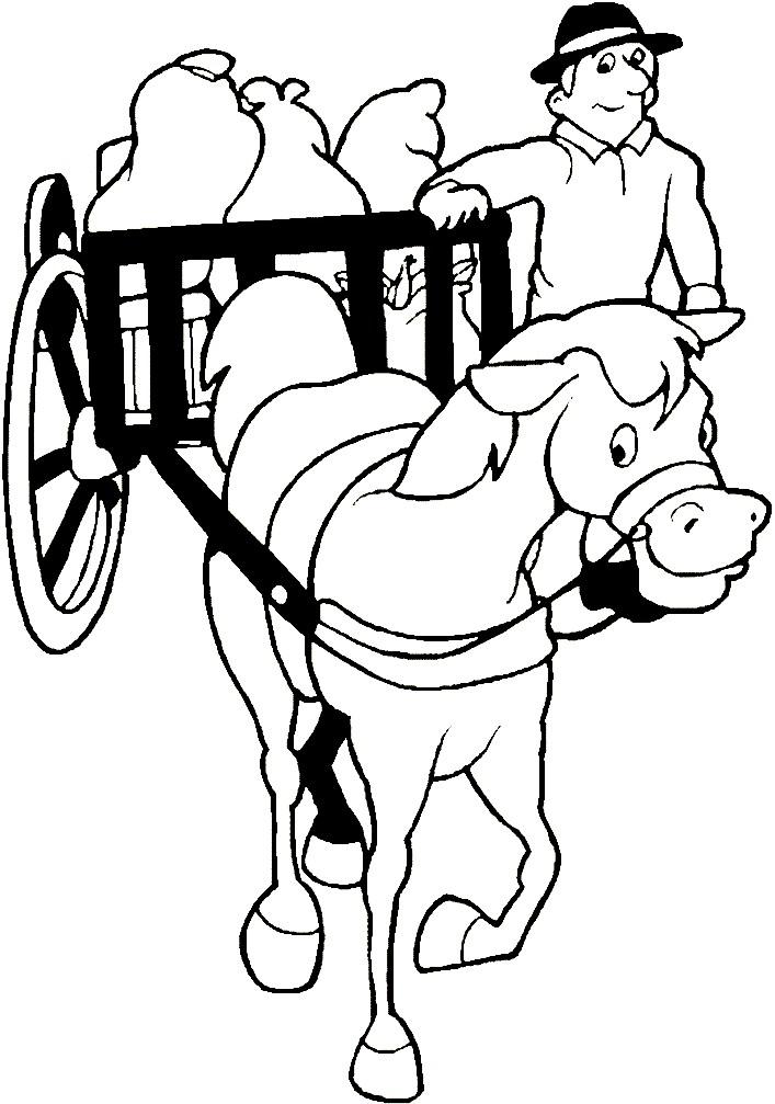 Раскраска лошадь с повозкой
