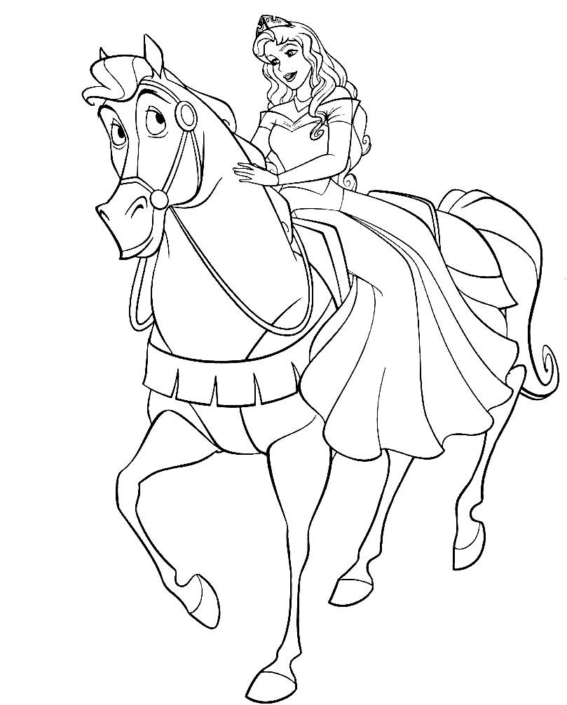Раскраска лошадь с принцессой