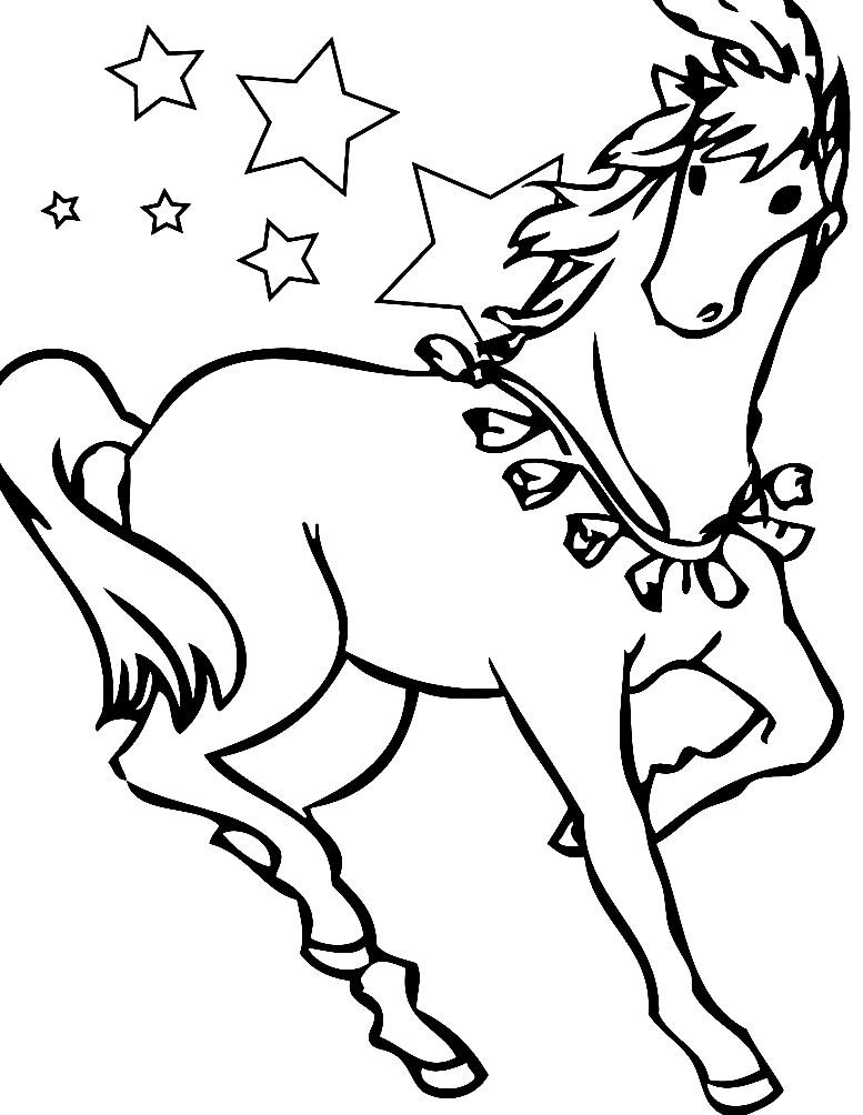 Раскраска лошадь скачет