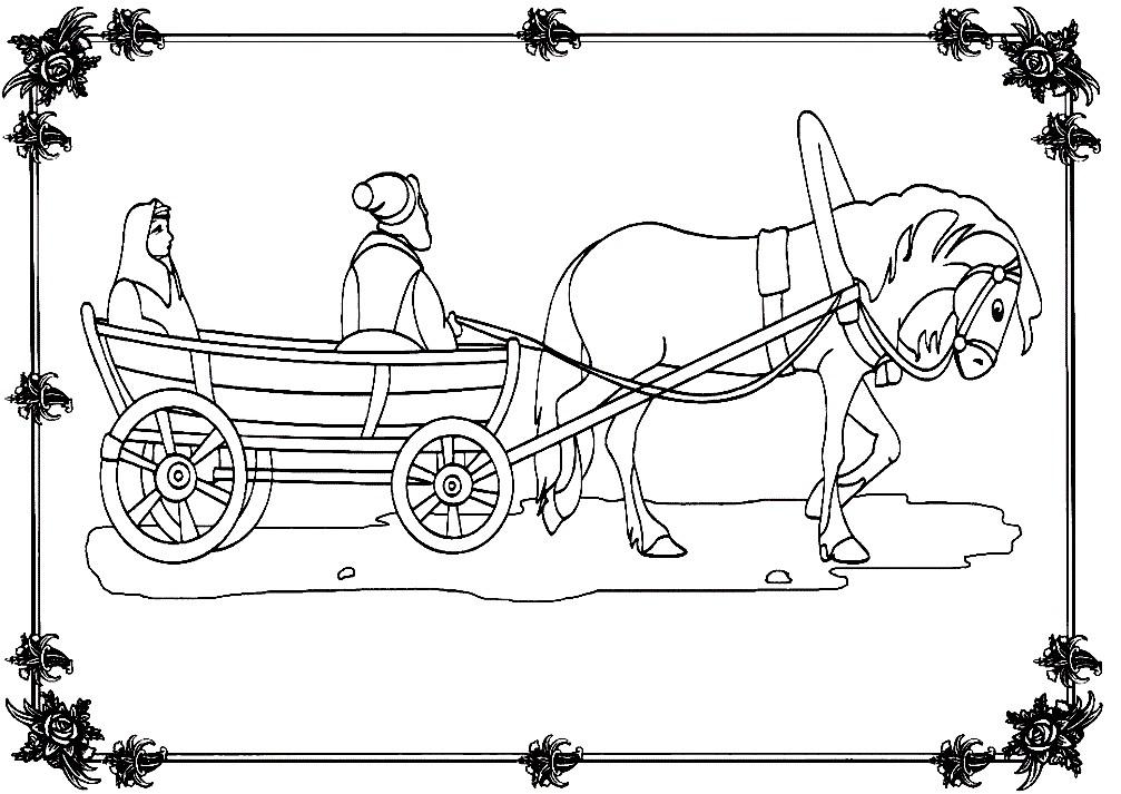 Раскраска лошадь с телегой