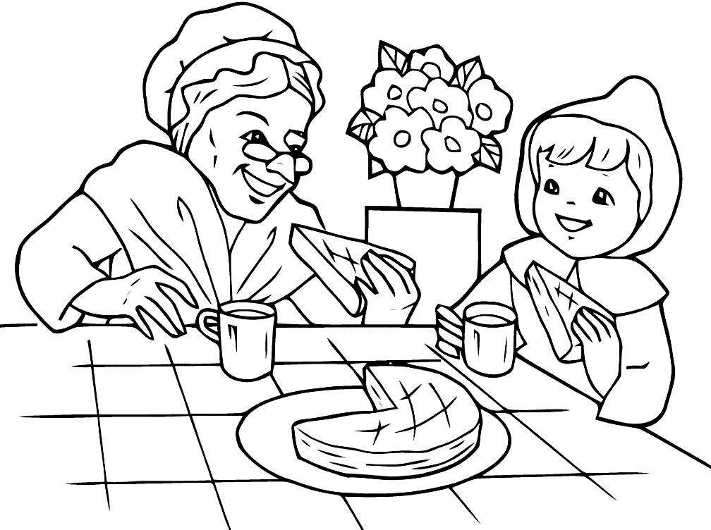 Раскраска Красная шапочка с бабушкой