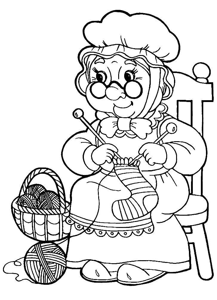 Раскраска бабушка ждет Красную шапочку