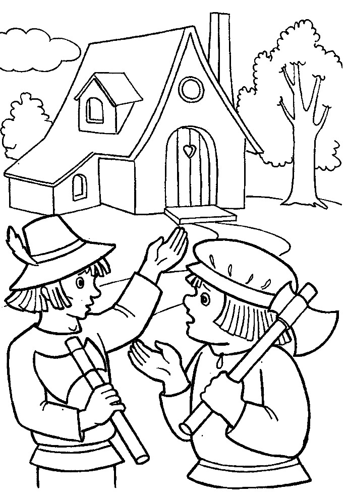 Раскраска дровосеки из Красной шапочки
