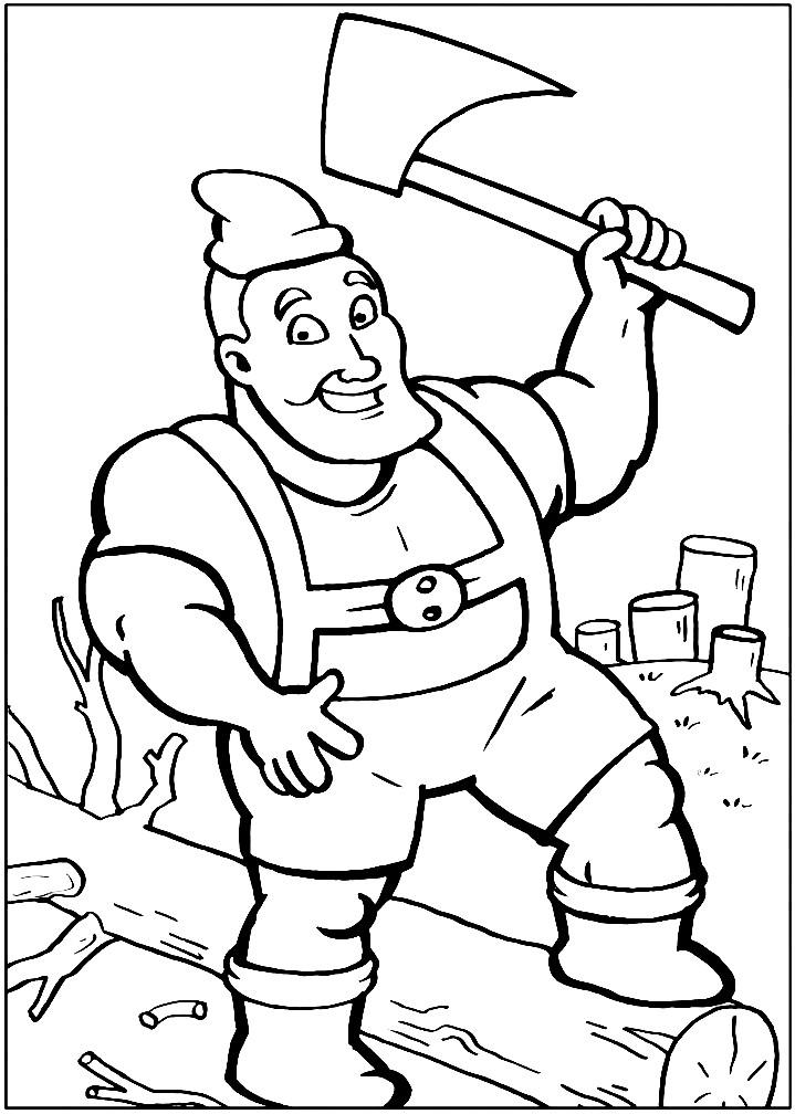 Раскраска дровосек