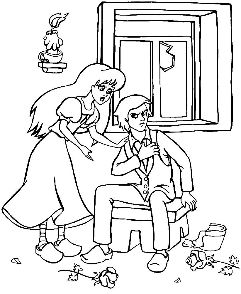 Раскраска Кай и Герда