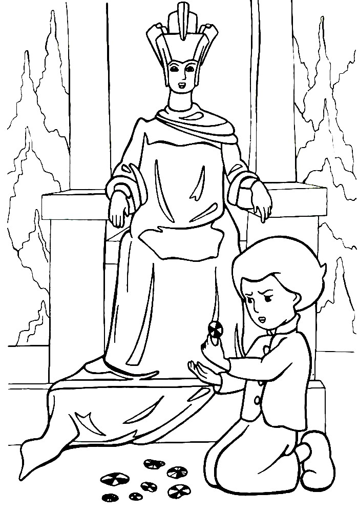 Раскраска Кай играет в ледяном дворце Снежной королевы