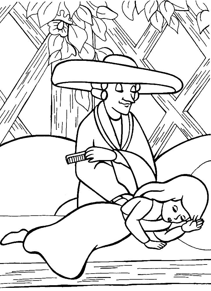 Раскраска Герда в саду у волшебницы