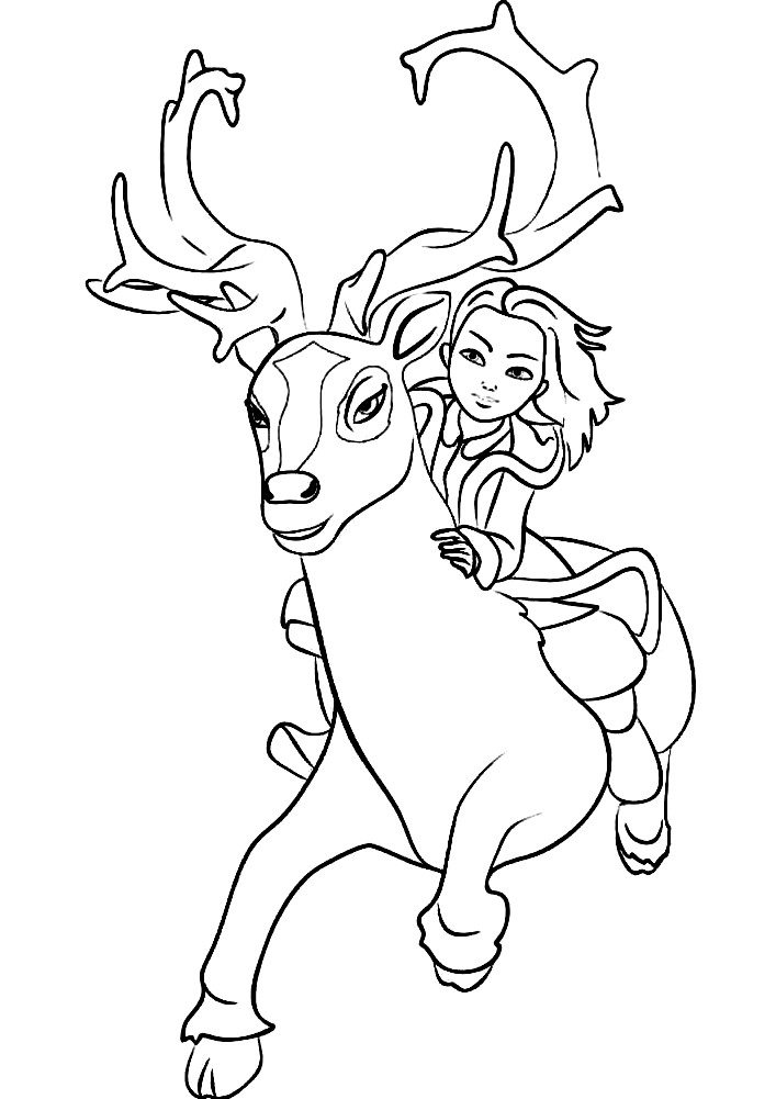 Раскраска Герда и северный олень