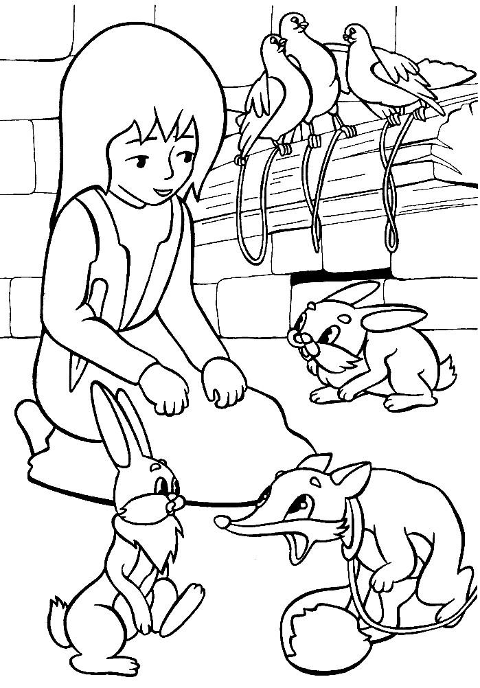 Раскраска маленькая разбойница из Снежной королевы