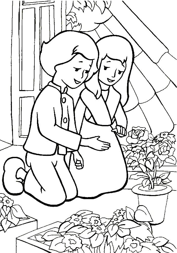 Раскраска Кай и Герда на крыше