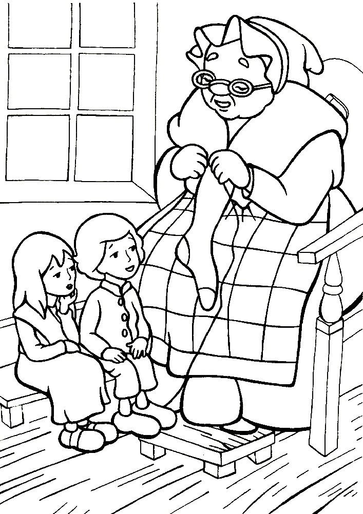 Раскраска Кай и Герда с бабушкой