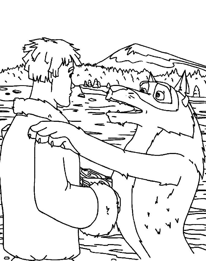 Раскраска Иван и его друг волк