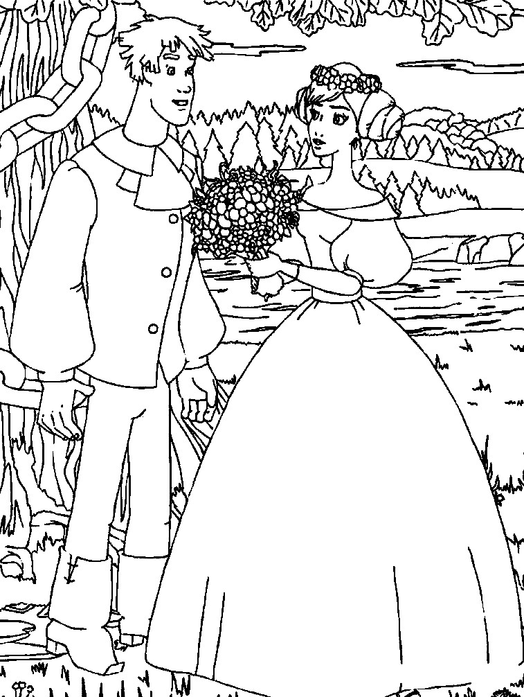 Раскраска свадьба Ивана Царевича и Василисы
