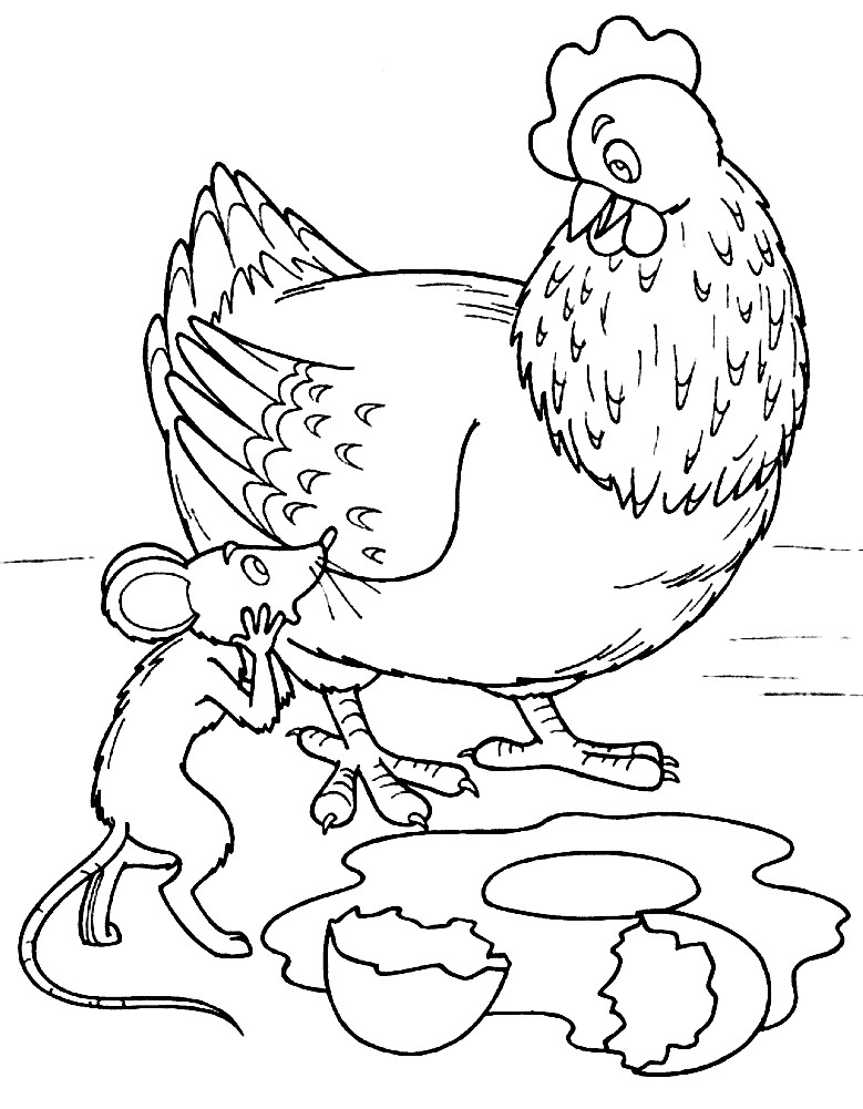 Раскраска курочка Ряба и яичко