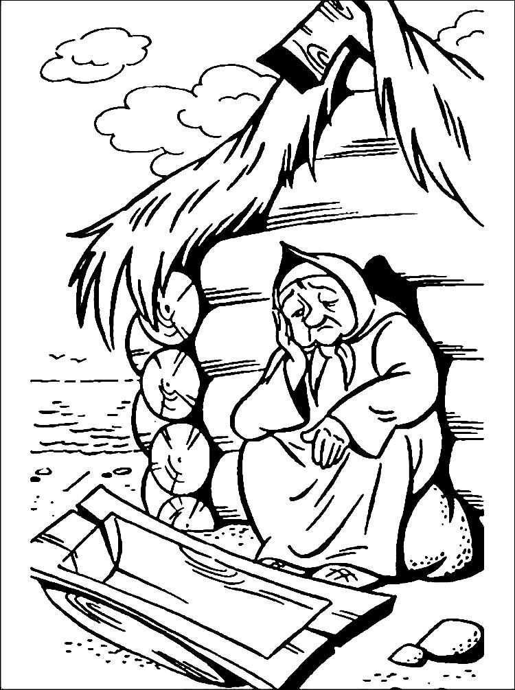 Раскраска баба у разбитого корыта