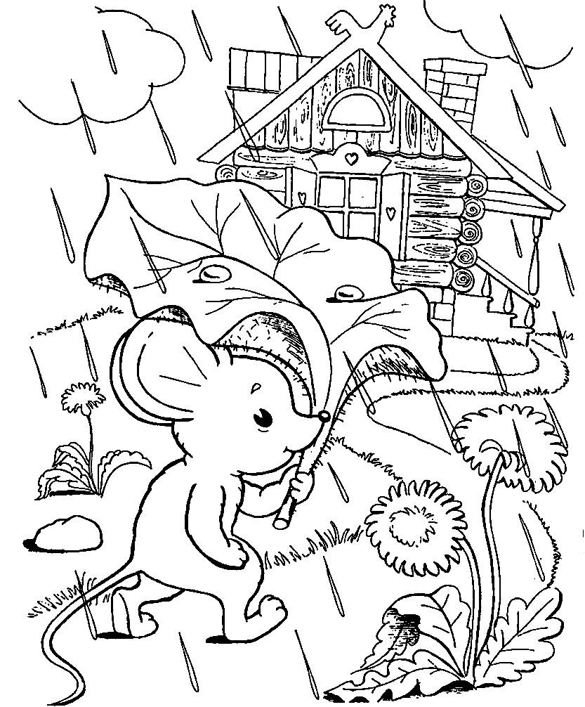 Раскраска мышка норушка
