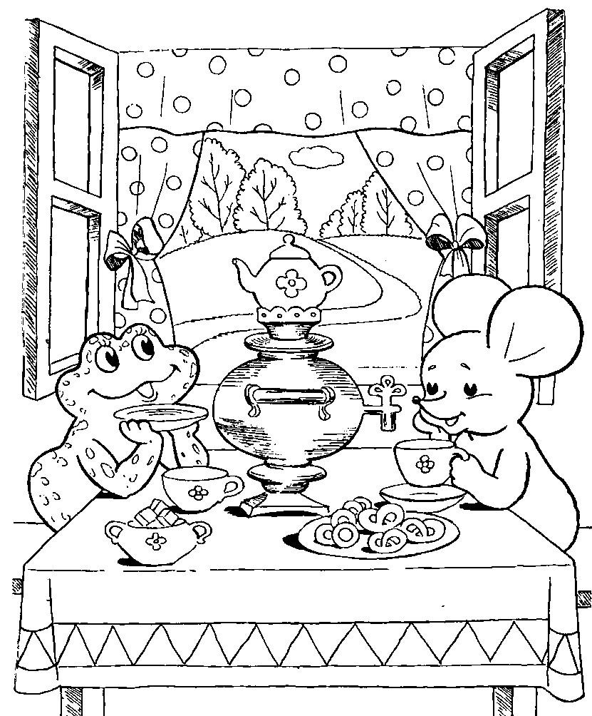 Раскраска мышка норушка и лягушка квакушка