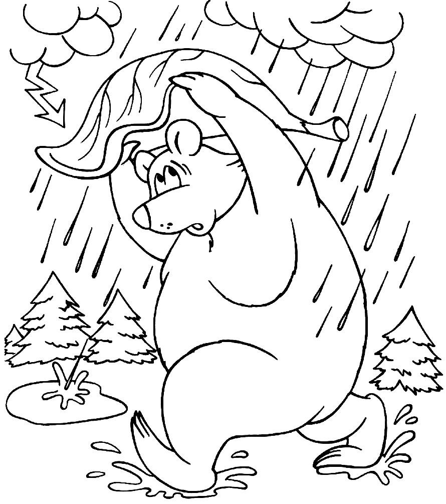 Раскраска мишка косолапый из сказки