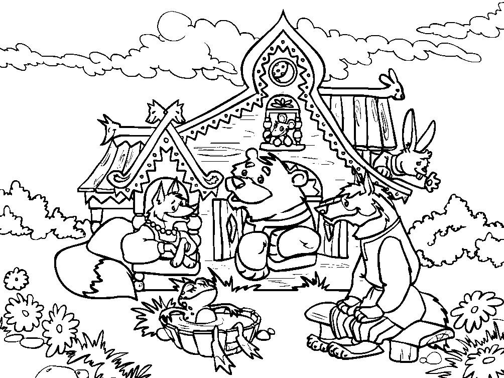 Раскраска сказка Теремок