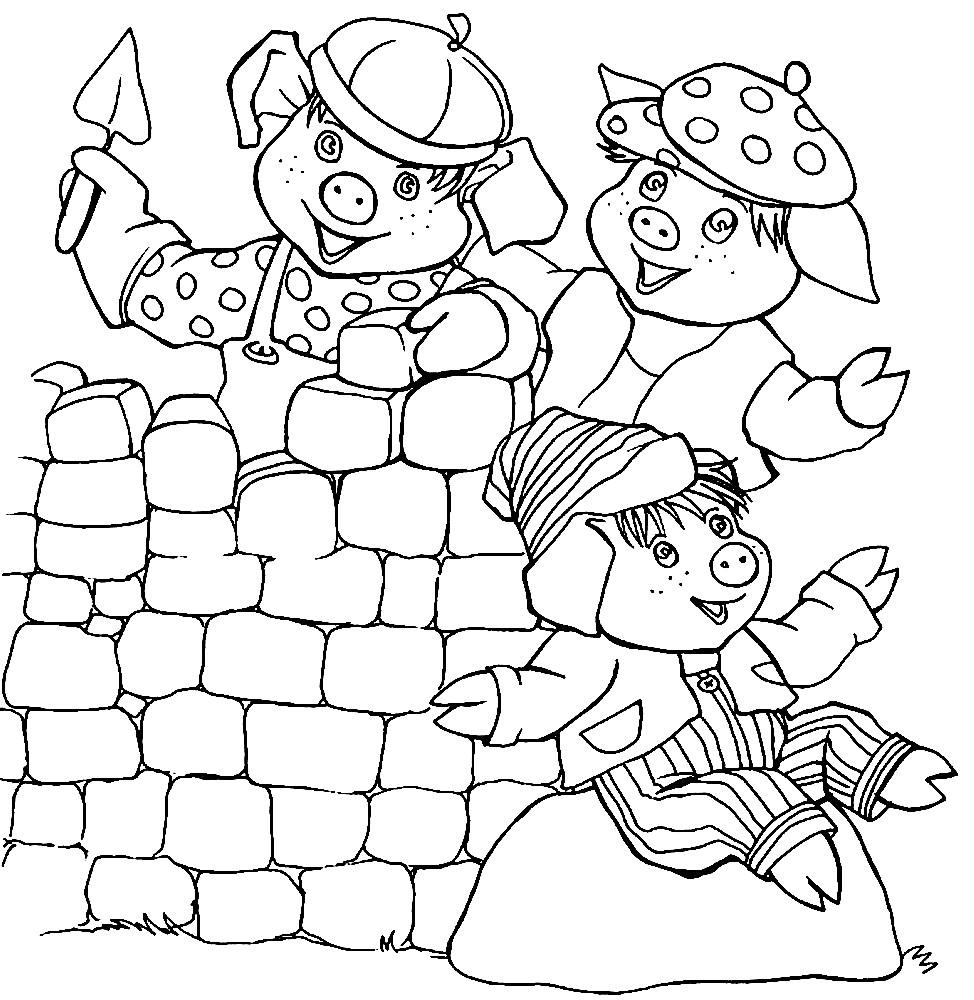 Раскраска Три поросенка строят дом
