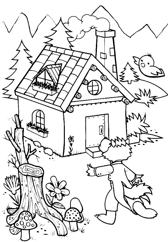 Раскраска волк около дома поросят