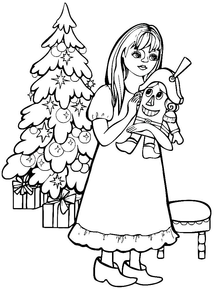 Раскраска Щелкунчик и девочка