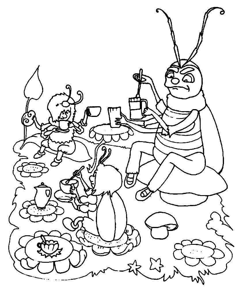 Раскраска букашки и таракашки пьют чай