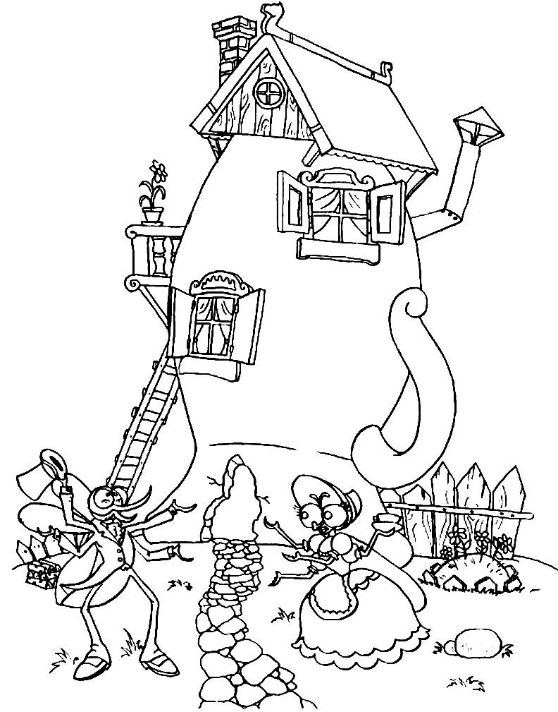 Раскраска Муха Цокотуха и Комар | Раскраски для детей ...