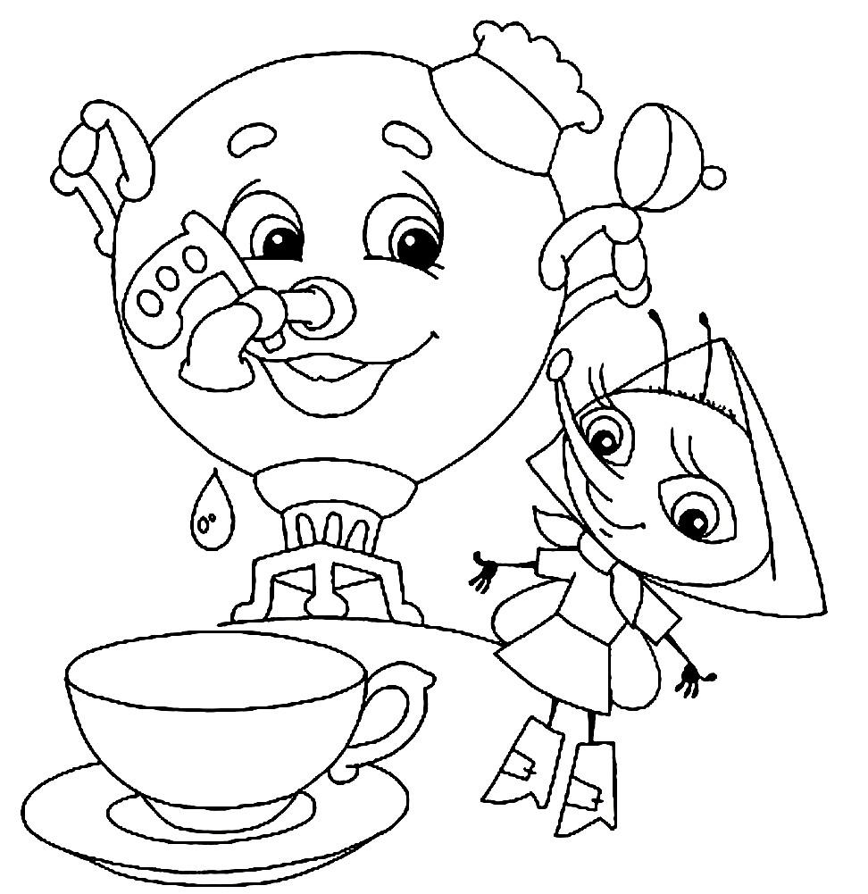 раскраска муха цокотуха и самовар раскраски для детей