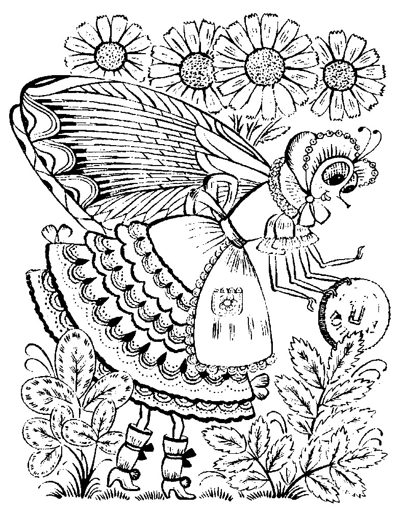 Раскраска Муха Цокотуха позолоченное брюхо