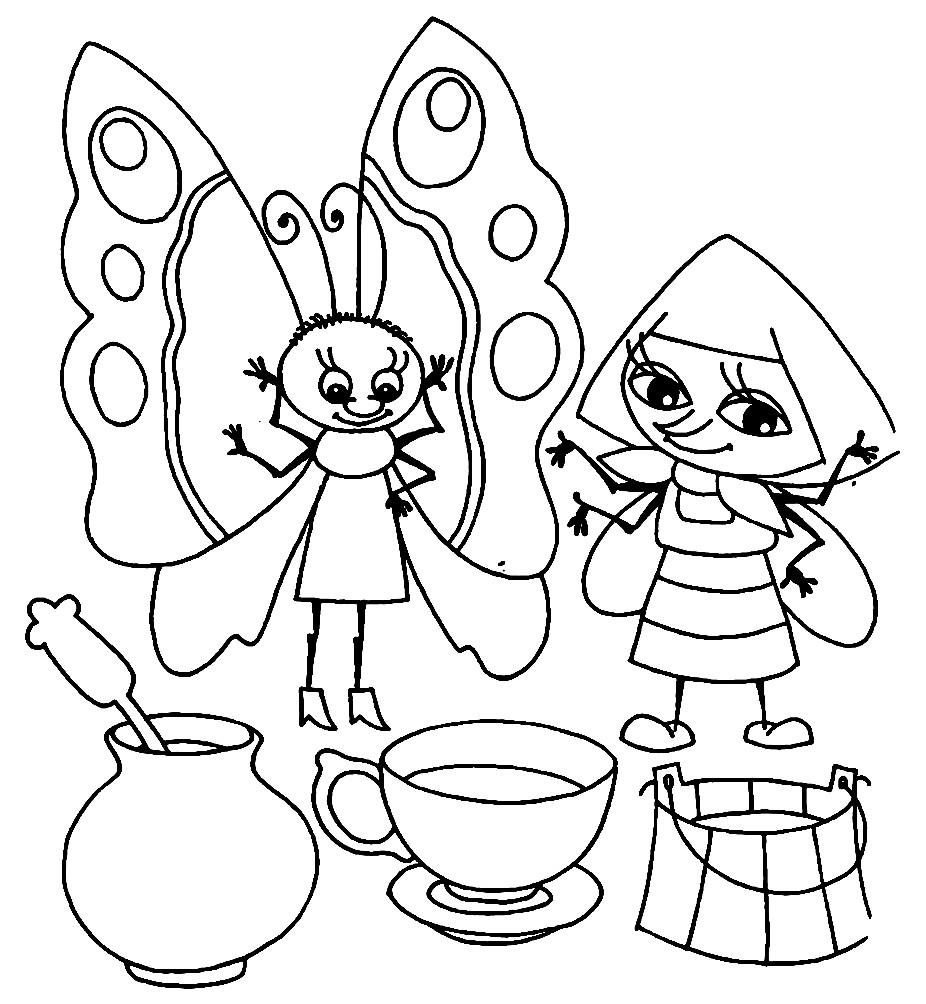 Раскраска Муха Цокотуха угощает насекомых