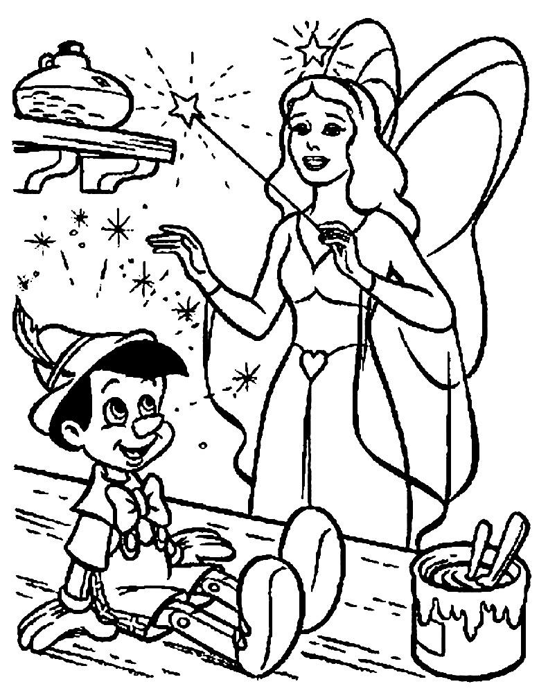 Раскраска Пиноккио и Фея