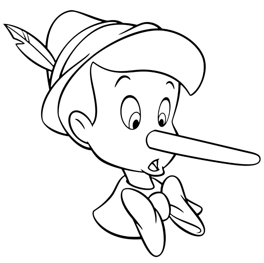 Раскраска длинноносый мальчик Пиноккио