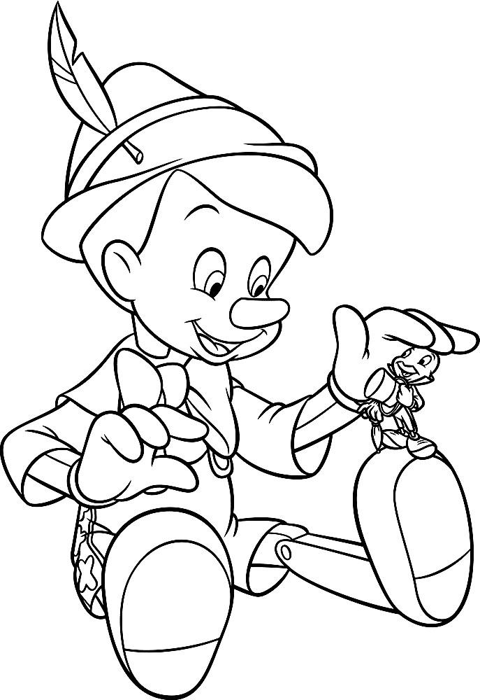 Раскраска Пиноккио и его друг сверчок Джимини