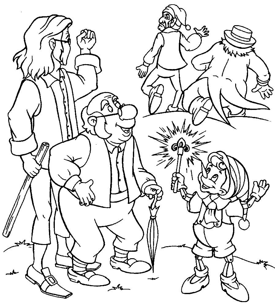 Раскраска сказка Золотой ключик