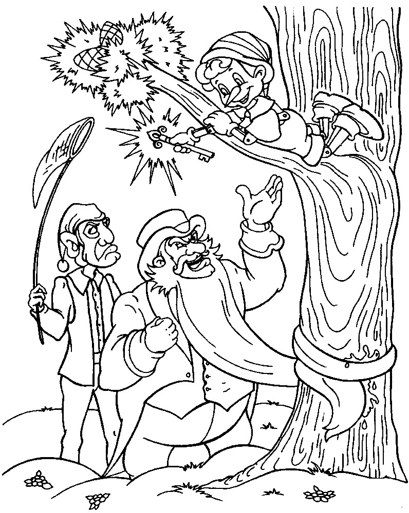 Раскраска Буратино убегает от Карабаса Барабаса