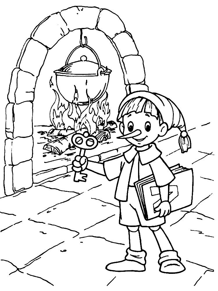 Раскраска Буратино — мальчик с длинным носом