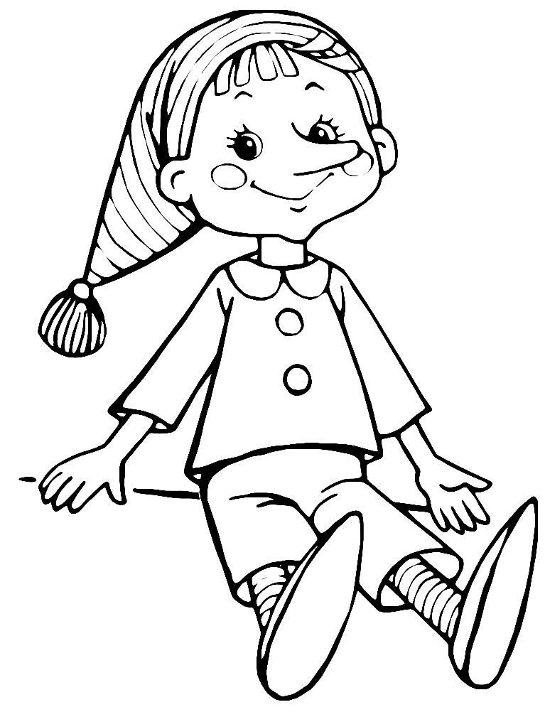 Раскраска деревянный мальчик — Буратино