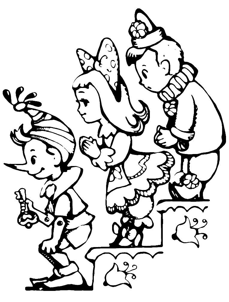 Раскраска герои из сказки Буратино
