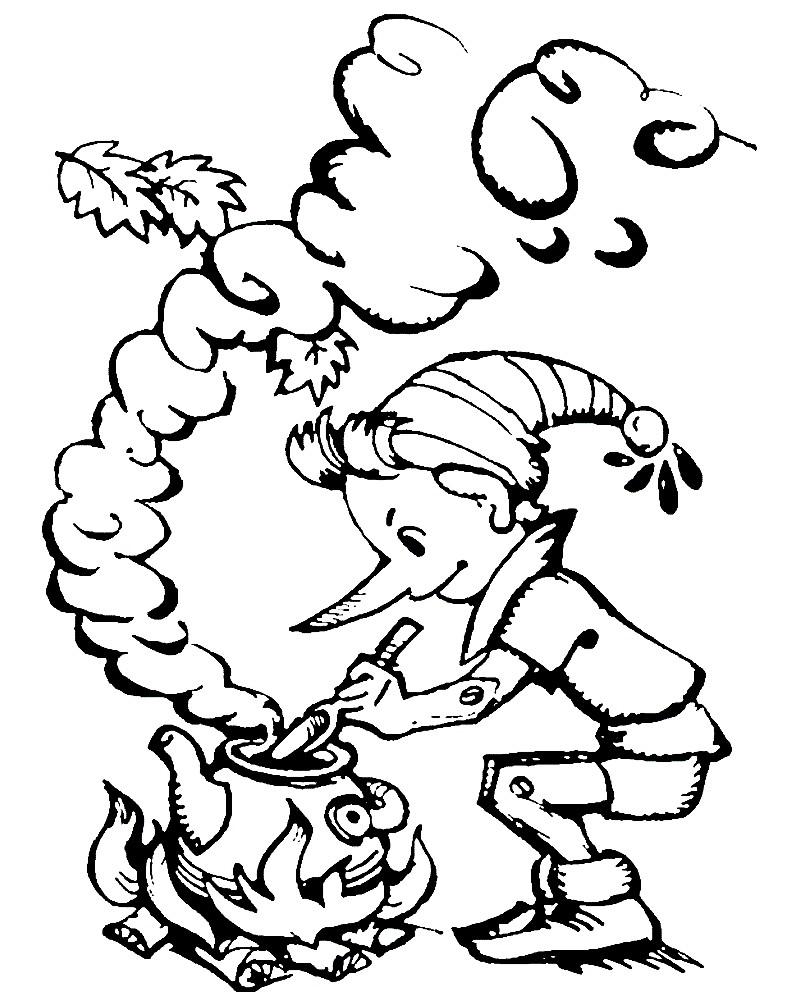 Раскраска приключения Буратино