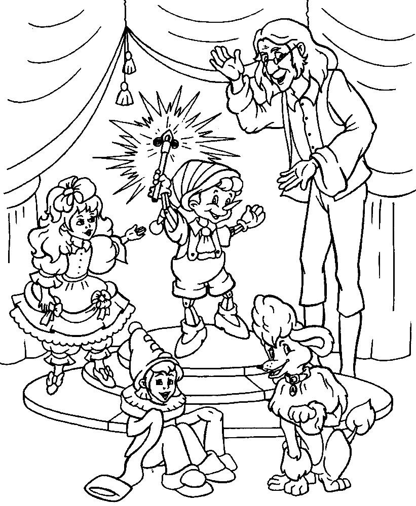 Раскраска герои из сказки приключения Буратино