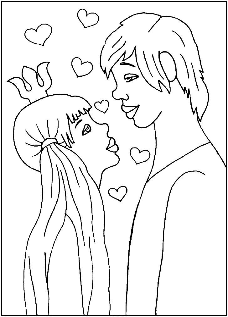 Раскраска влюбленные Трубадур и принцесса