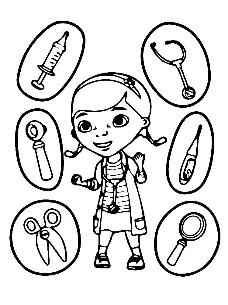 Раскраска доктор Плюшева с медицинскими инструментами